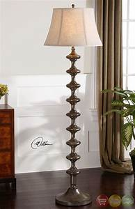 antonello distressed solid wood mission style floor lamp 28630 With real wood floor lamp