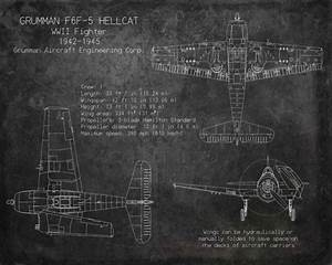 Grumman F6f Hellcat Wwii Fighter Blueprint Art 11 By Scarletblvd   40 00