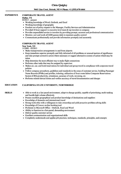 corporate travel resume sles velvet