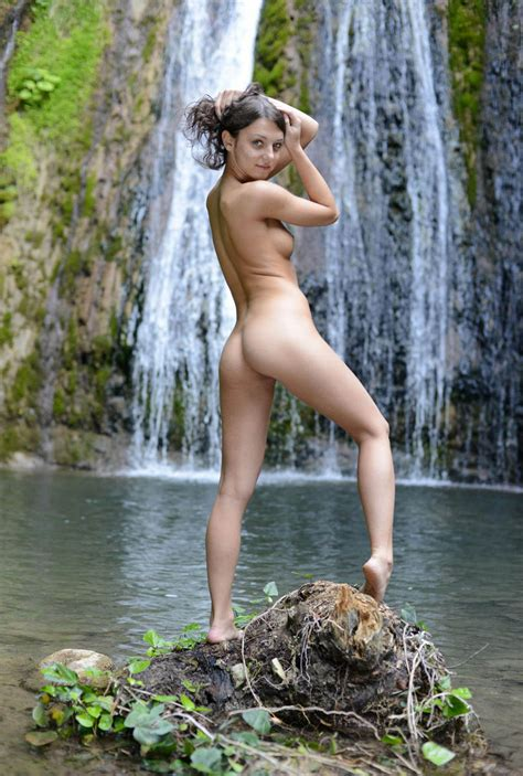 Beautiful Russian Teen With Perfect Body Near Waterfall