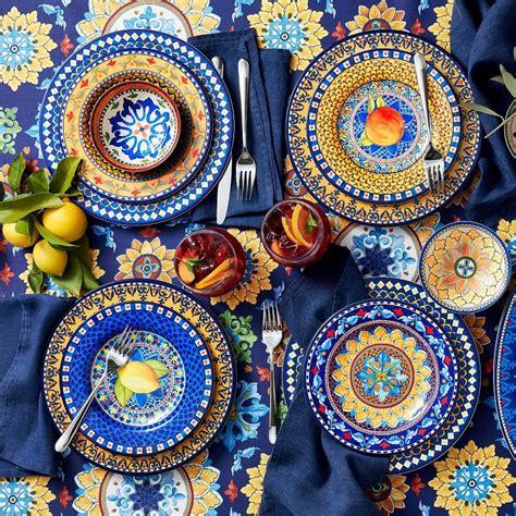 sicily melamine dinner plates blue set   williams