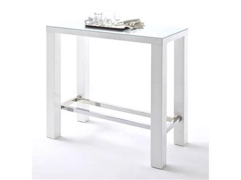 table de bar joyce blanc laqu 233 et verre avec repose pieds 120x60 cm
