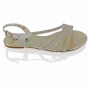 WOMENS FLAT DIAMANTE STRAPPY SANDALS LADIES SPARKLY BRIDAL
