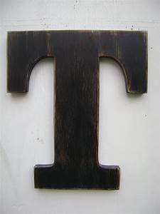 Wood letter rustic wall hanging initals letter t hanging wood for Large hanging letters for walls