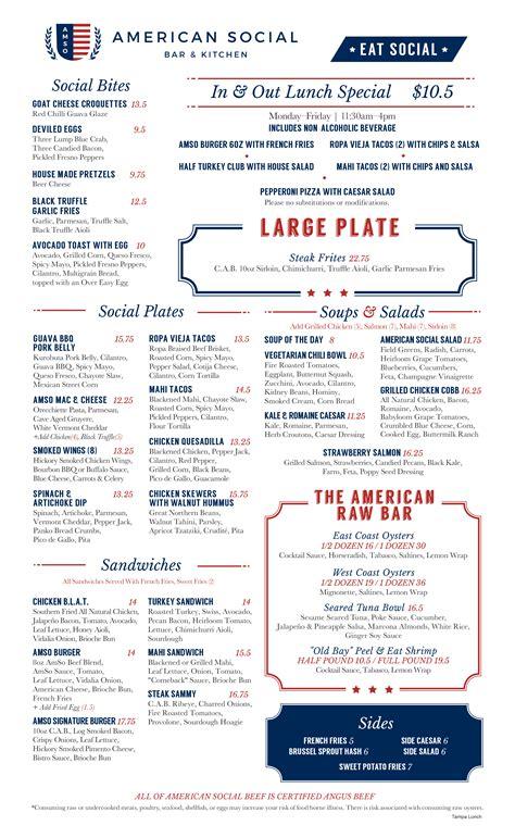 Tampa Lunch Restaurant | Lunch Menu | American Social