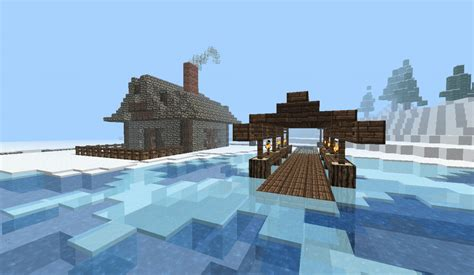 Small Boat Used To Get To Land by Small House With Boat Port Minecraft Project