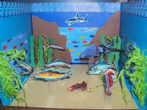 maqueta escolar en papel ecosistema marino cosas  ninos pinterest