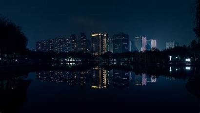 Night Panorama Buildings River Reflection 4k Wallpapers