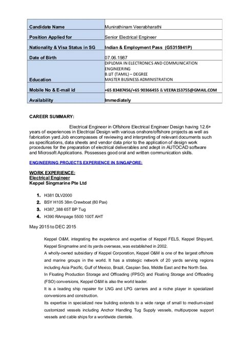 Senior Electrical Engineer Resume Format by Senior Electrical Engineer Resume