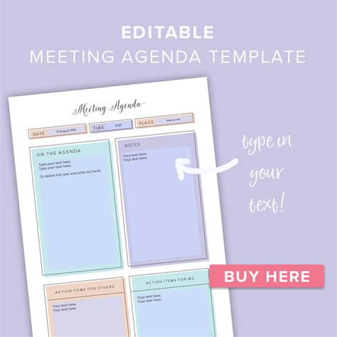 pretty printable meeting agenda templates