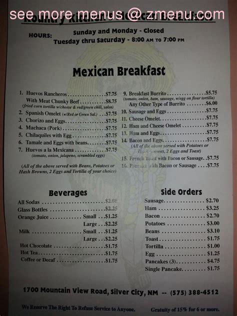 menu  kountry kitchen restaurant silver city