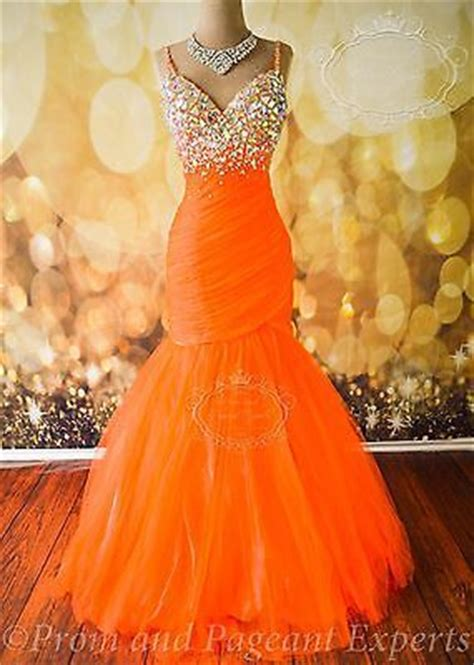 neon orange mac duggal formal evening prom long pageant