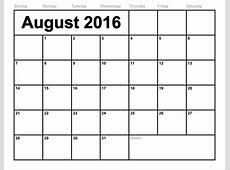 Blank Calendar Template 2016 That You Can Type In