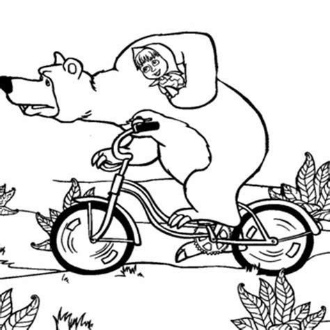mewarnai gambar masha   bear hitam putih aneka