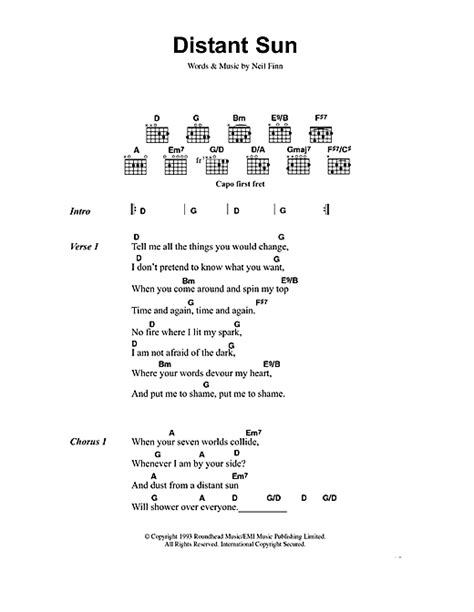 Crowded House  Distant Sun Sheet Music