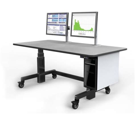 dual monitor height adjustable mobile standing desk