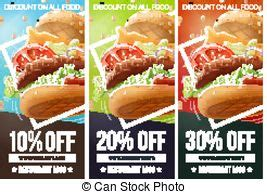 burger voucher template fast food drawings white background vector eps10
