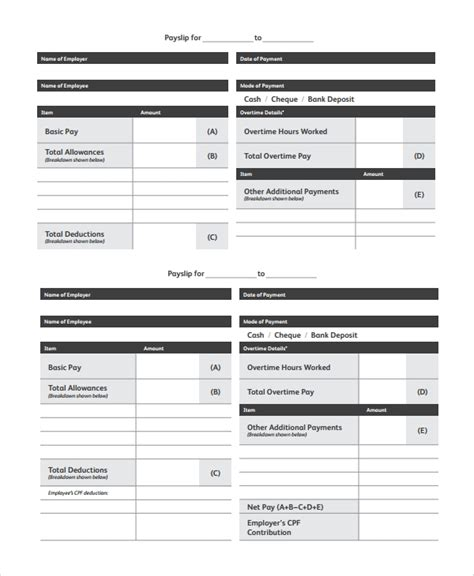 payslip templates   ms word