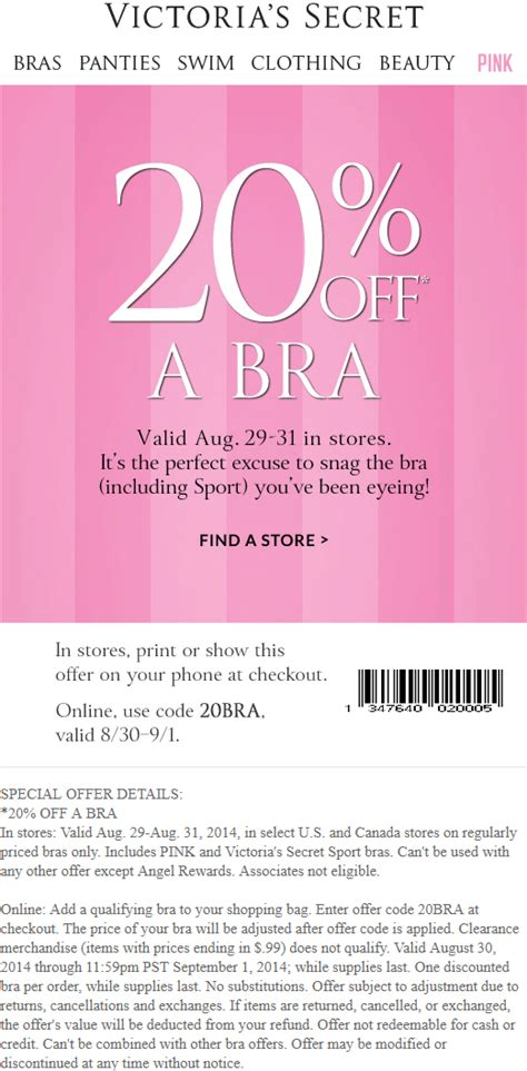 01217 Free Secret Coupons In The Mail by Victorias Secret Coupons 20 A Bra From Victorias