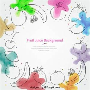 Fruit juice background with watercolor stains Vector ...
