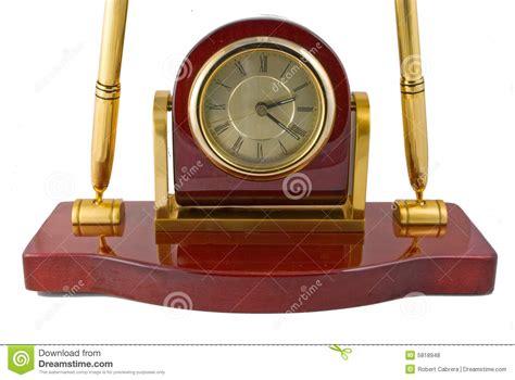 desk clock pen set clock and pen desk set royalty free stock photos image