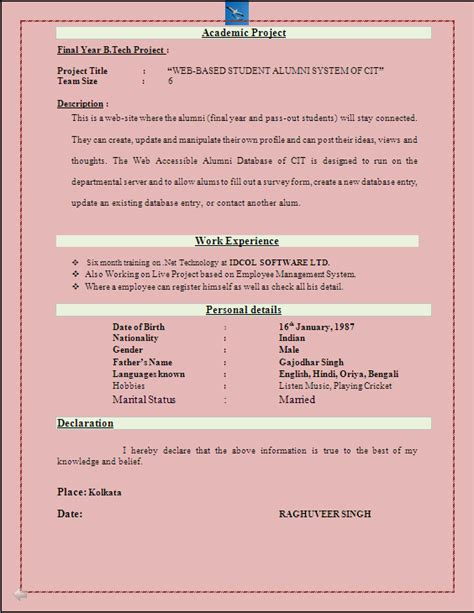 Resume Format For Freshers Bba by Bba Fresher Resume Format