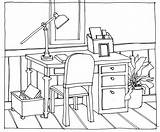Drawing Table Perspective Chairs Desk Chair Line Drawings Office Hand Sitting Desks Man Interior Cartoon Thinking Getdrawings Colouring Point Architecture sketch template