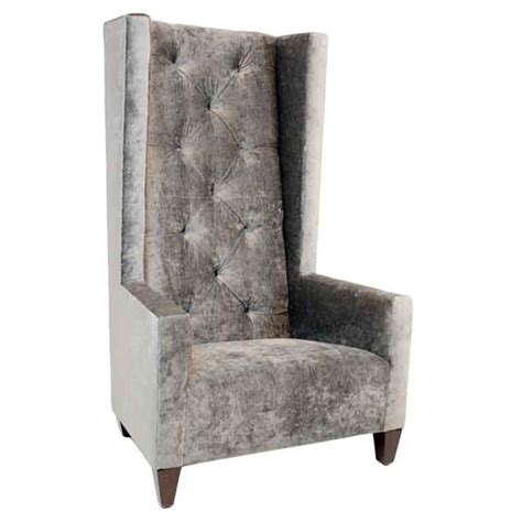 Single Armchairs For Sale by Single High Back Tufted Gray Silk Velvet Chair Vital
