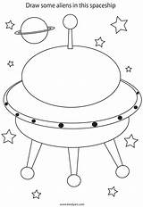 Space Ship Spaceship Alien Rocket Coloring Popular sketch template