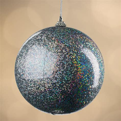 large iridescent silver ball ornament christmas