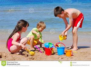 Children Playing At The Beach Stock Image - Image of ...