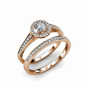 Diamond halo bridal set ring wedding band si2 i1 g h for Where to sell wedding ring set