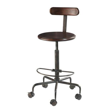 chaise haute indus  roulettes en bois de sheesham massif  metal industry maisons du monde