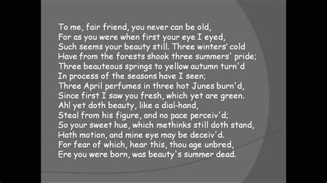 Sonnet 104 The Seasons Have I Seen Youtube