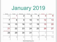 January 2019 Calendar Cute yearly printable calendar