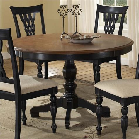 hillsdale embassy pedestal dining table in rubbed