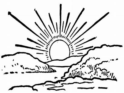 Sunset Coloring Printable Sunsets Nature Template