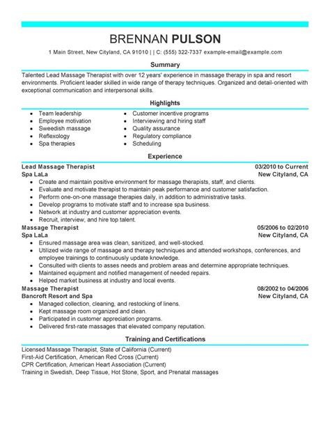 Spa Therapist Resume Templates by Lead Therapist Resume Exles Salon Spa Fitness