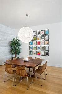 Wall collage ideas dining room transitional with leather ...