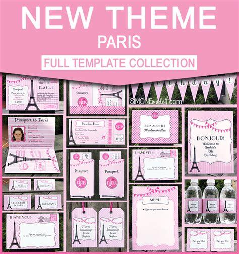 birthday party  paris invitations printable collection