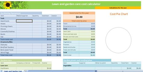 lawn  garden calculator template lawn garden calculator