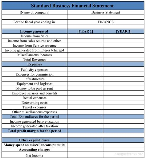 standard business financial statement form sample forms