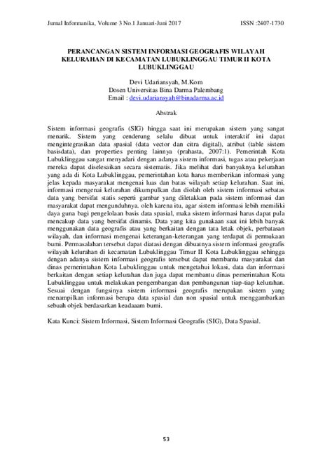 (PDF) PERANCANGAN SISTEM INFORMASI GEOGRAFIS WILAYAH