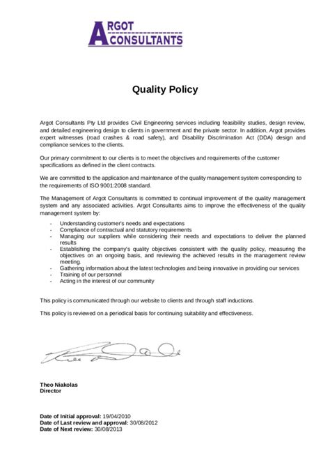 quality policy statement examples iso