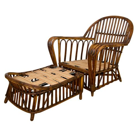 wicker chair with ottoman antique stick wicker chair and ottoman at 1stdibs
