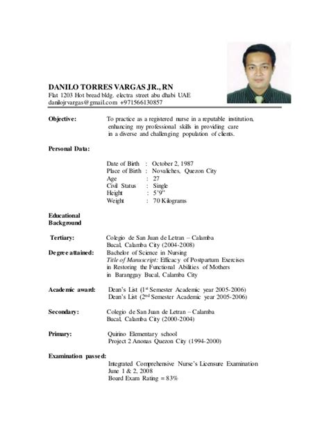 Nursing Resume Format Doc by New Resume Danilo Updated 2015 Doc