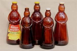 amber glass Mrs Butterworth syrup bottle lot, lady shape