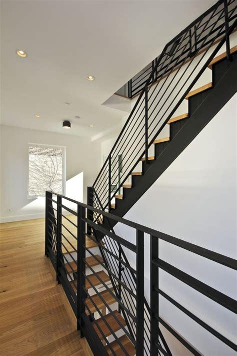 banister handrails stair to roof terrace custom matte black steel stair