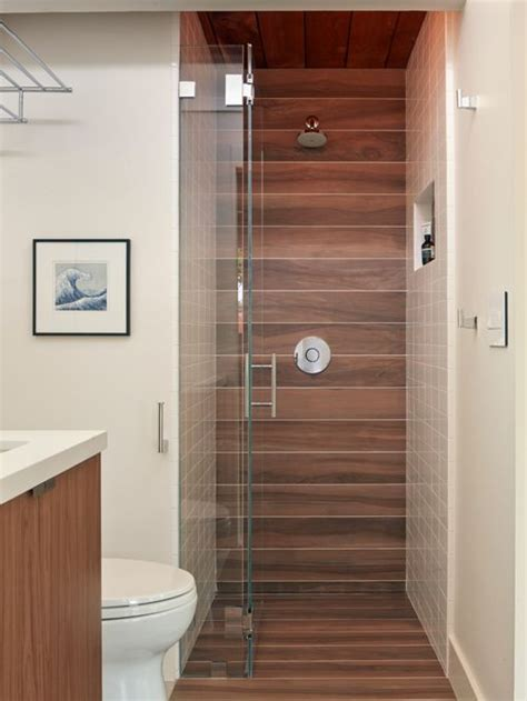 wood tile shower houzz