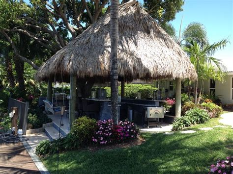 Tiki Hut, Outdoor Kitchen And Landscaping Tropical